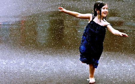 little girl in the rain